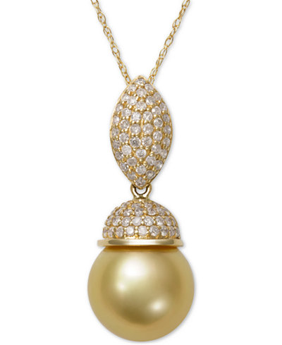 Cultured Golden South Sea Pearl (9mm) and Diamond (3/8 ct. t.w.) Pendant Necklace in 14k Gold