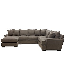 CLOSEOUT! Ainsley 3-Piece Fabric Chaise Sectional Sofa with 6 Toss Pillows, Created For Macy's