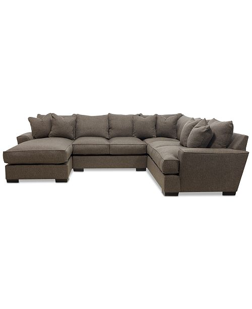 CLOSEOUT! Ainsley 3-Piece Fabric Chaise Sectional Sofa with 6 Toss Pillows,  Created For Macy\'s