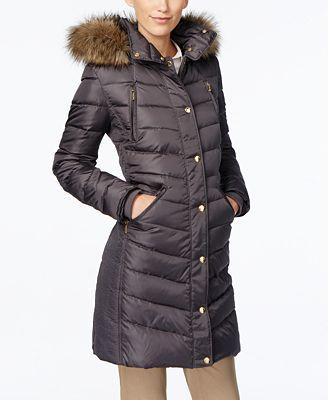 MICHAEL Michael Kors Petite Faux-Fur-Trim Down Puffer Coat - Coats ...