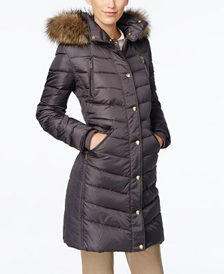 MICHAEL Michael Kors Petite Faux-Fur-Trim Down Puffer Coat - Coats