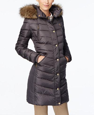 Michael Michael Kors Petite Faux Fur Trim Down Puffer Coat