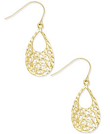 Openwork Cut-Out Teardrop Drop Earrings in 10k Gold