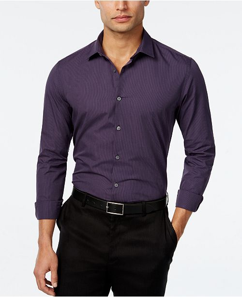 Alfani Men's Tonal Stripe Long-Sleeve Shirt, Slim Fit, Created for Macy's