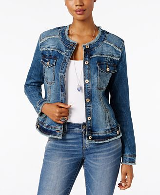 INC International Concepts Frayed Denim Jacket, Created for Macy's ...