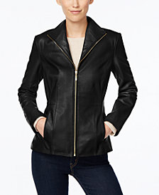 Cole Haan Signature Petite Leather Moto Jacket