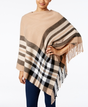 V Fraas Plaid Brushed Poncho, Created For Macy's In Heather