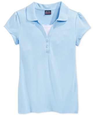 Image of Nautica School Uniform Layered-Look Polo Shirt, Big Girls (7-16)