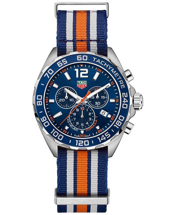 TAG Heuer Men's Swiss Chronograph Formula 1 Blue Striped NATO Strap Watch 43mm