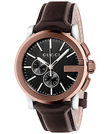 Gucci Unisex Swiss Chronograph G-Chrono Brown Leather Strap Watch 44mm YA101202