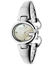 Gucci Women's Swiss Guccissima Diamond Accent Stainless Steel Bangle Bracelet Watch 27mm YA134504