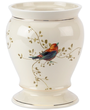 Image of Avanti Bath Accessories, Gilded Birds Trash Can Bedding