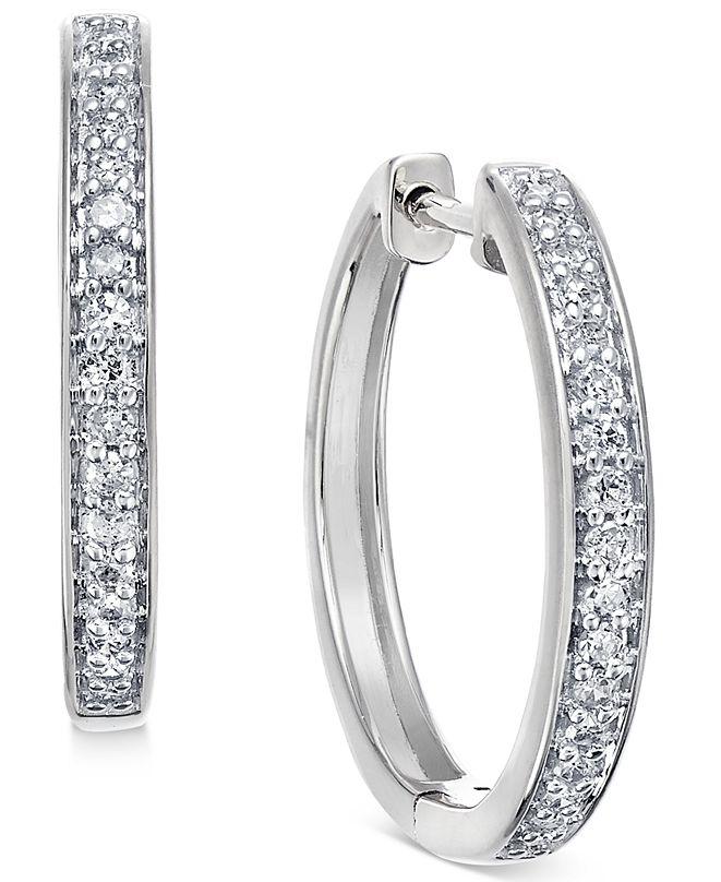 Macy's Diamond Hoop Earrings (1/5 ct. t.w.) in 14k White or Yellow Gold
