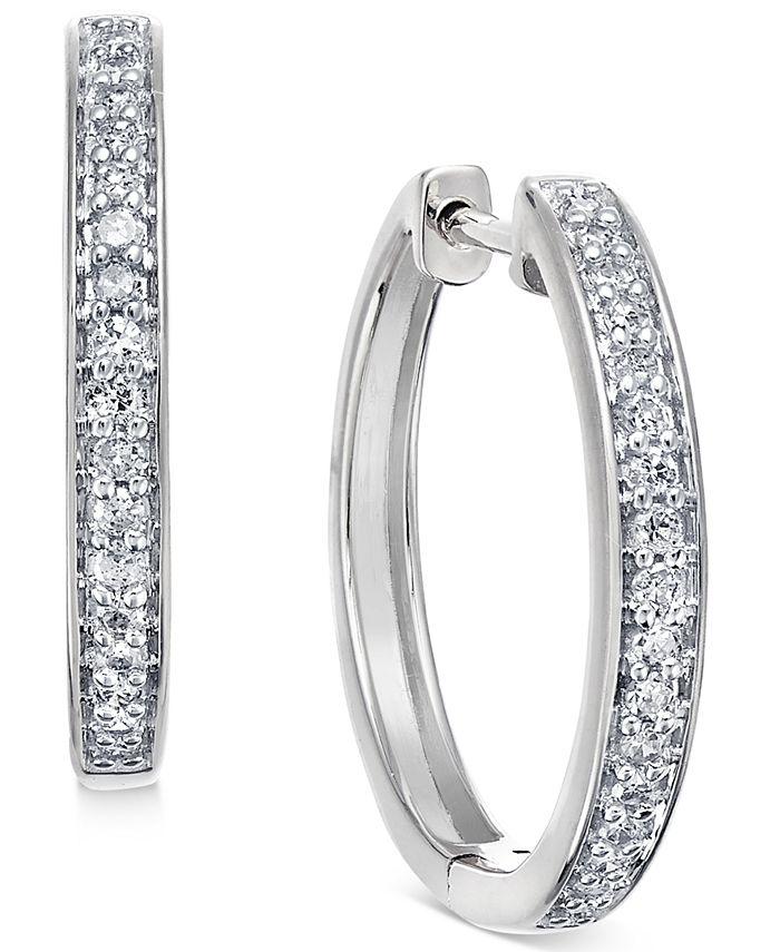 Macy's - Diamond Hoop Earrings (1/5 ct. t.w.) in 14k White or Yellow Gold