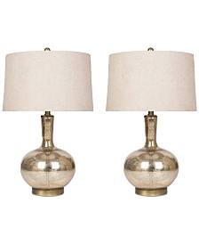 Abbyson Living Set of 2 Gold Mercury Glass Table Lamp