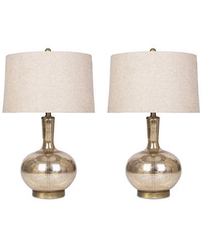 Abbyson Living Set of 2 Gold Mercury Glass Table Lamp