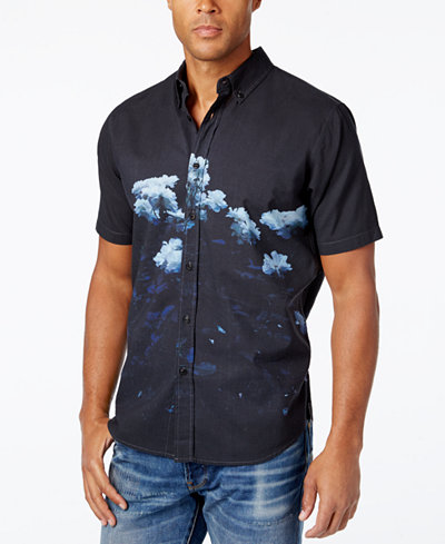 Ezekiel Men's Blackout Floral-Print Short-Sleeve Shirt