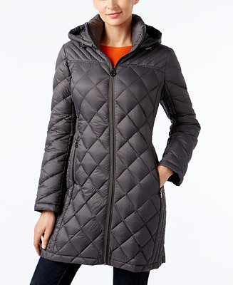 Michael Michael Kors Hooded Packable Down Diamond Quilted