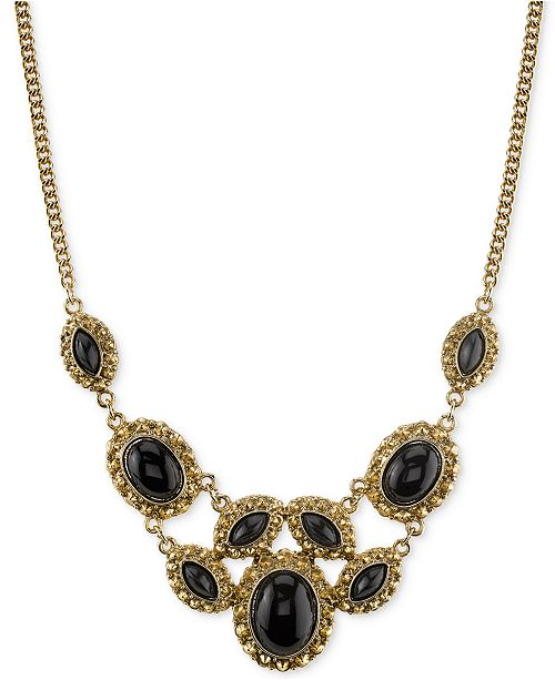 2028 Gold-Tone Black Stone Ornate Statement Necklace, Created for Macy's