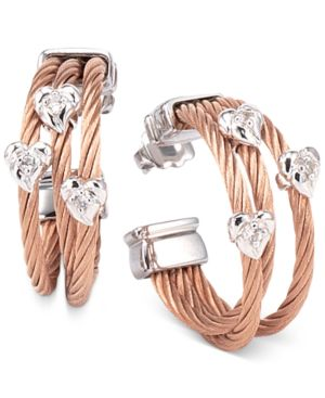 WOMEN'S MALIA WHITE TOPAZ-ACCENT TWO-TONE PVD STAINLESS STEEL CABLE HOOP EARRINGS