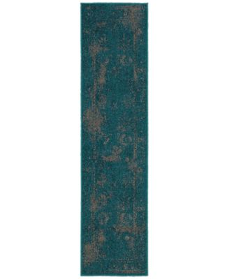 "CLOSEOUT! Revamp REV7690D Turquoise 1'10"" x 7'6"" Runner Rug"