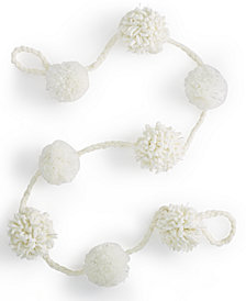 Holiday Lane White Pom Pom Garland, Created for Macy's