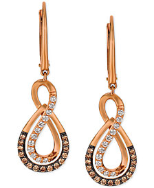 Le Vian® Chocolatier Diamond Drop Infinity Earrings (1/2 ct. t.w.) in 14k Rose Gold