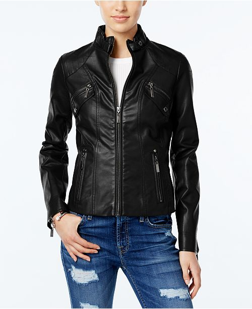Jou Jou Juniors' Faux-Leather Moto Jacket