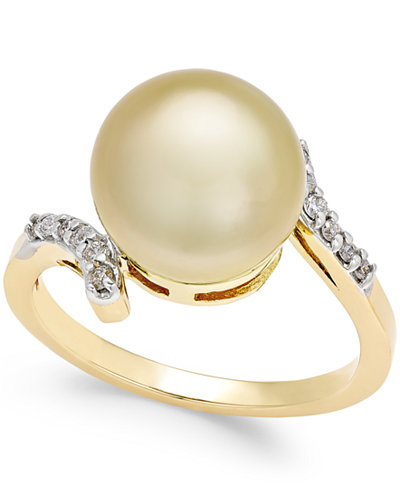 Cultured Golden South Sea Pearl (10mm) and Diamond (1/10 ct. t.w.) Ring in 14k Gold