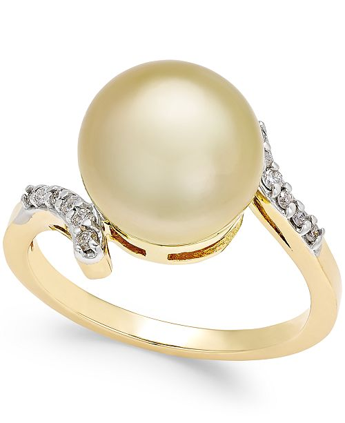 Macy's Cultured Golden South Sea Pearl (10mm) and Diamond (1/10 ct. t.w.) Ring in 14k Gold