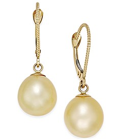 Cultured Oval Golden South Sea Pearl (9mm) Drop Earrings in 14k Gold