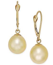 Cultured Oval Golden South Sea Pearl (9mm) Drop Earrings in 14k Gold