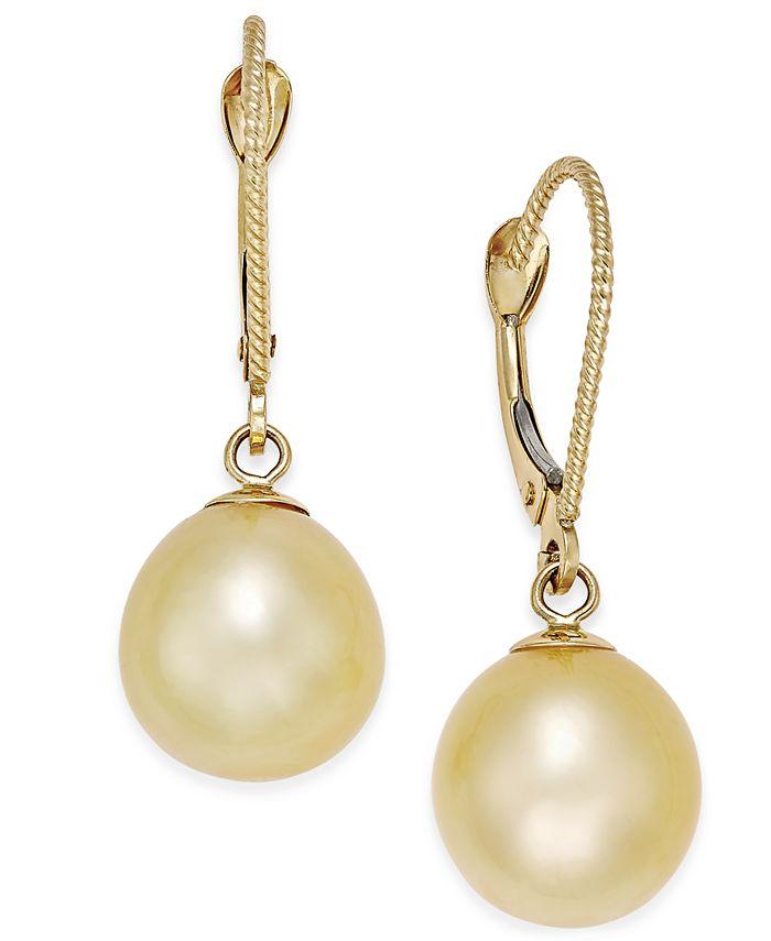 Macy's - Cultured Oval Golden South Sea Pearl (9mm) Drop Earrings in 14k Gold