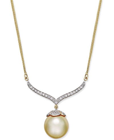 Cultured Golden South Sea Pearl (12mm) and Diamond (3/8 ct. t.w.) Pendant Necklace in 14k Gold