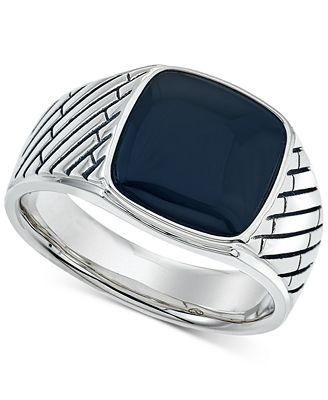 Esquire Men S Jewelry Onyx 12 X 12mm Ring In Sterling