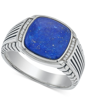 Esquire Men's Jewelry Lapis Lazuli (12 x 12mm) and Diamond Accent Ring in Sterling Silver, Created for Macy's