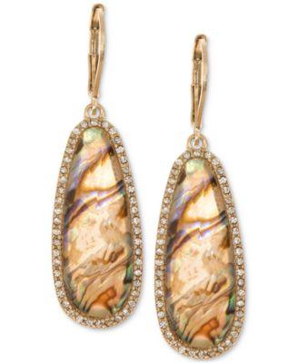 Gold-Tone Iridescent Stone Drop Earrings