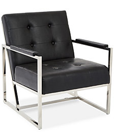 Trysten Faux-Leather Armchair, Quick Ship
