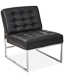 Nevyn Wide Faux-Leather Accent Chair, Quick Ship