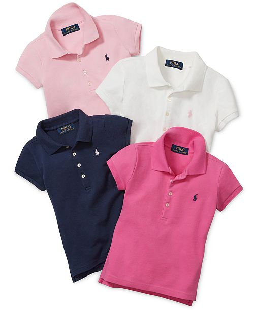 904eacec Polo Ralph Lauren Toddler & Little Girls & Big Girls Mesh Polos ...