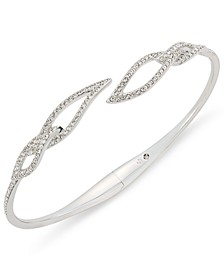 Silver-Tone Pavé Leaf Open Bracelet, Created for Macy's