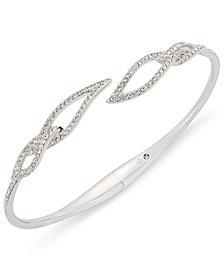 Danori Silver-Tone Pavé Leaf Open Bracelet, Created for Macy's