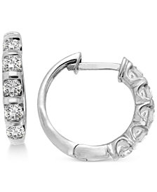 Diamond Five-Stone Hoop Earrings (1/2 ct. t.w.) in 14k Gold or White Gold