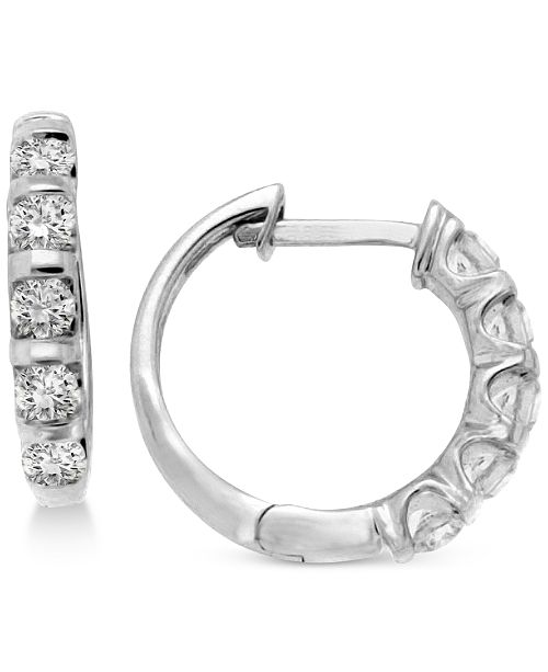 Diamond Five Stone Hoop Earrings 1 2 Ct T W In 14k Gold Or White