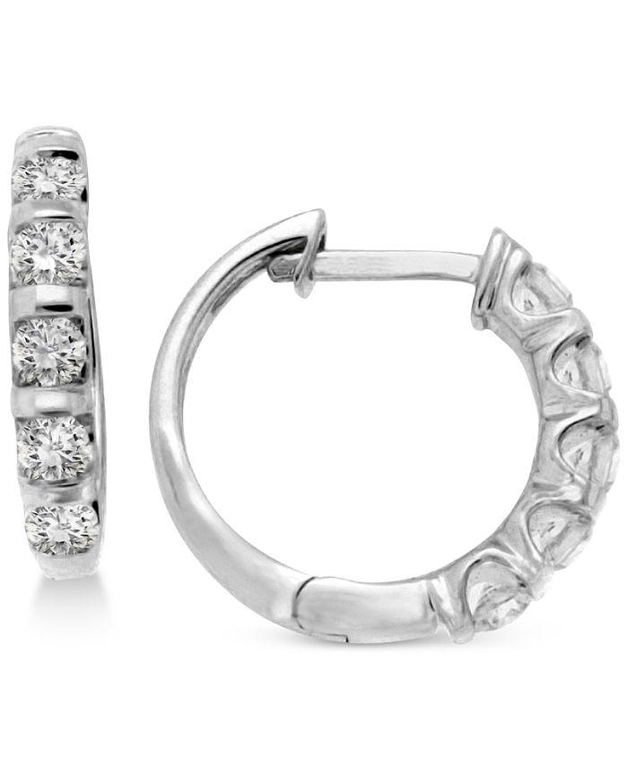 Macy's - Diamond Five-Stone Hoop Earrings (1/2 ct. t.w.) in 14k White or Yellow Gold