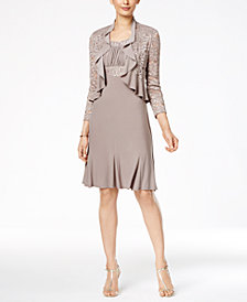 R M Richards Metallic A Line Dress And Ruffled Jacket
