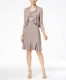 R&M Richards Metallic A-Line Dress and Ruffled Jacket