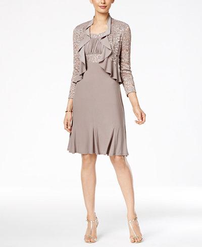 R Amp M Richards Metallic A Line Dress And Ruffled Jacket Dresses Women Macy S