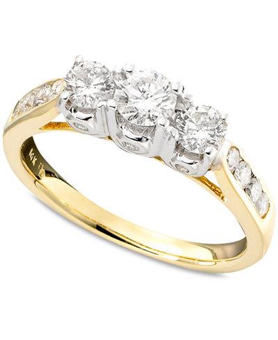 Three Stone Diamond Ring In Two Tone 14k Gold 1 Ct T W