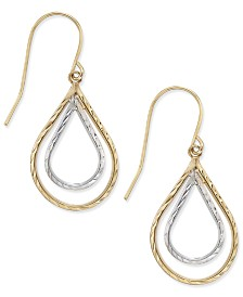 Two-Tone Double Teardrop Textured Drop Earrings in 10k Yellow and White Gold